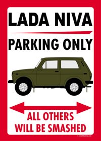 "Parkschild ""LADA NIVA PARKING ONLY"""