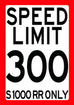 SPEED LIMIT 300 - S 1000 RR ONLY speed limit sign